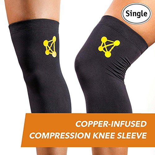 CopperJoint Copper Knee Brace, 1 Compression Fit Support – Guaranteed Recovery Sleeve – Wear Anywhere