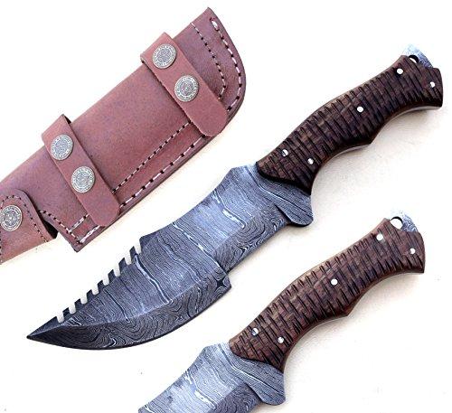 Poshland Knives TR-2153, CUSTOM HANDMADE DEMASCUS STELL FULL TANG TRACKER KNIFE –BEUTIFULL ROSE WOOD HANDLE