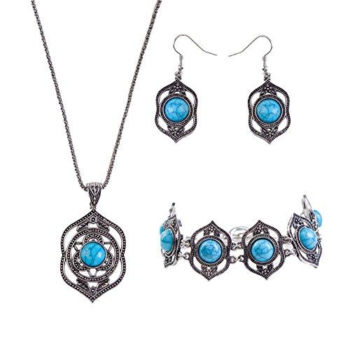- Meiyuan Women's Vintage Hollow Turquoise Pendant Necklace Earrings Bracelet Jewelry Set