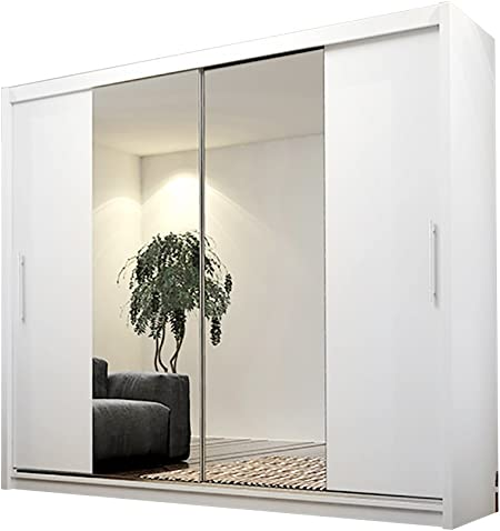 Ye Perfect Choice Armario Alayna 4 Puertas correderas con Espejo, Moderno Armario de Dormitorio 180 cm, White Without Led, with Carrying Service: Amazon.es: Hogar