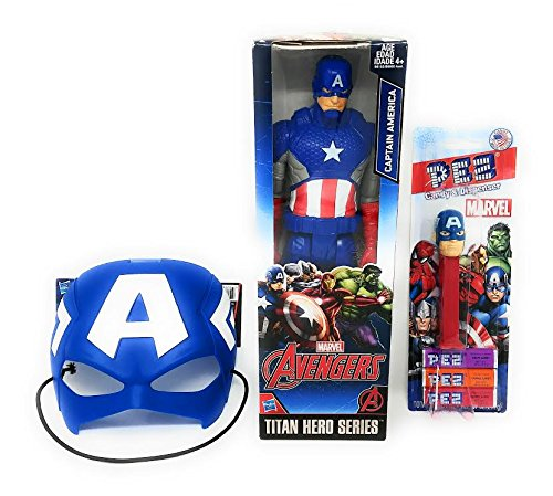 Captain America Action Figure With PEZ Three Pack of Candy and Mask
