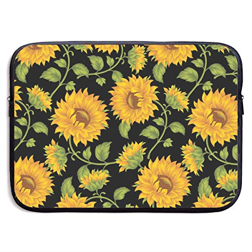Classic Black Water Repellent Neoprene Laptop Sleeve Bag Cover Case Compatible 13 15 Inch, Computer Netbook Notebook Skin - Beautiful Sunflower