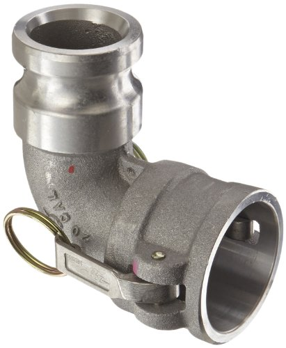 PT Coupling CAL Series 20CAL Aluminum Cam and Groove Hose Fitting, 90 Degree Elbow, Stainless Steel 300 (HBS) Cam Arms, 2