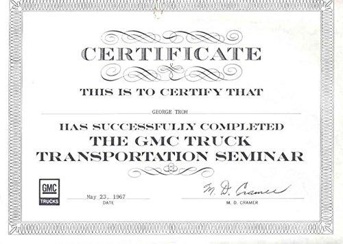 1967 GMC Truck Transportation Seminar Certificate from GMC
