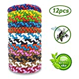 12 Pack Leather Braided Bracelet,100% Natural Protection Safe for Kids/Adults,Indoor Outdoor Camping Hiking Protection Multicolor