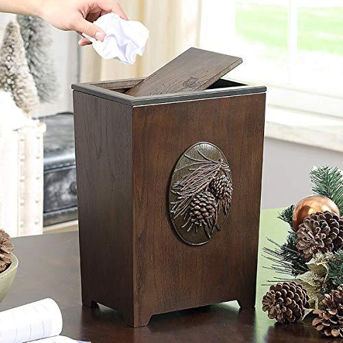 (MGEM Waste Bin,Trash Can Home Living Room Creative American Wood Large with Lid Trash Can Office Bedroom Kitchen Dining Room Paper Basket (Color : 03))