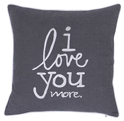 ADecor Pillow Covers I Love you more pillow cases embroidered cushion covers love throw pillow couple wedding anniversary gift P353 (18X18, Love U More(Grey))