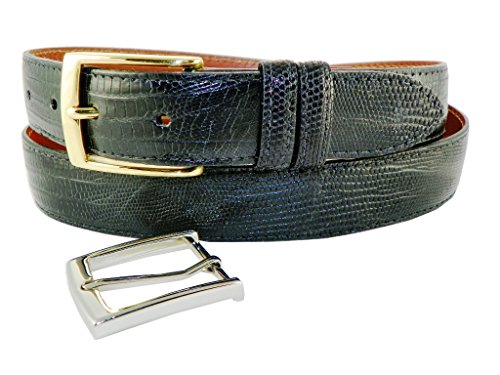 Genuine Lizard Belt with 2 Classic Buckles by Charles Underwood - Black, Size 36