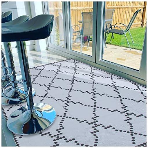 Garden and Outdoor Santex TT003 Reversible Outdoor/Indoor Plastic Rugs,OutdoorPatio Mats,Perfect for Garden, Patio, Picnic, Decking (Grey… outdoor rugs