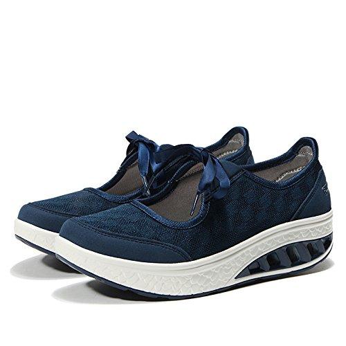 Sneakers 42 Blu Elegant Donna Casual Calzature Leggero Basculanti Dimagranti Scarpe Ginnastica Sportive da Ulogu per Zeppa 36 Aerobica Platform wvqTv1