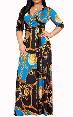 Womens Sexy V Neck Stylish Floral Long Maxi Dresses Casual Loose Prom Party Dress Plus Size -