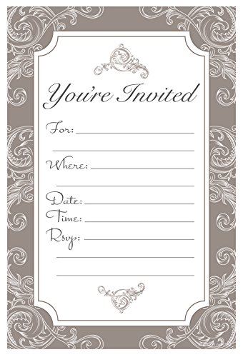 - Elegant Neutral Mocha Brown Fill In Invitations - Wedding, Bridal Shower, Baby Shower, Engagement Party, Birthday - (20 Count) With Envelopes