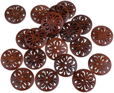 ビンテージ 23mmラウンドボタン 手縫い素材縫製工芸品 2穴中空 木製ボタン