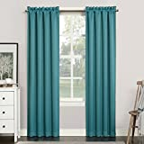 "Sun Zero Easton Blackout Rod Pocket Curtain Panel, 40"" x 63"", Marine Teal"