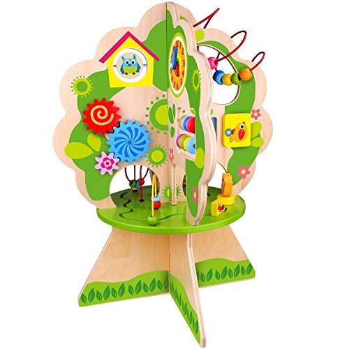 (Pidoko Kids Multi Activity Center Tree, Table Top Adventures - Wooden Bead Maze Play Toy for Toddlers Boys & Girls - Activity Cube Inspired)