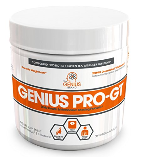Genius Probiotics for Weight Loss w/ Green Tea Extract for Women & Men  Shelf Stable Probiotic Natural EGCG Fat Burner Supplement, Digestive Health Pills for Bloating Relief and Belly Reduction 30sv