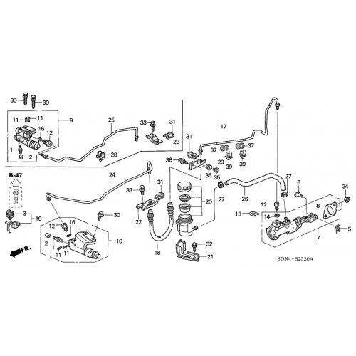 Genuine Honda 46971-SDA-A01 Clutch Master Cylinder Fluid Tube: