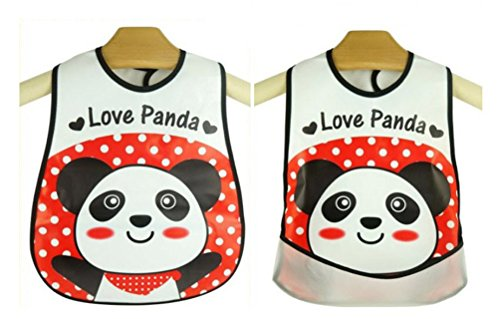 [Baby Bibs Love Panda Waterproof Lunch Infants Cartoon Pattern Bibs Burp Cloths For Children Self Feeding] (Infant Red Minnie My First Disney Costumes)