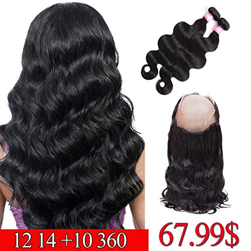 Brazilian Hair 360 Lace Frontal with Bundles Body Wave 12 14 +10 inch 360 Frontal with Bundles Pre Plucked 360 Closure Body Wave Human Hair Natural Black Color (Pre Plucked 360 Lace Frontal With Bundles)