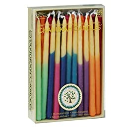 Eco-Friendly Hand Dipped Multicolored Beeswax Chanukah Hanukkah Candles / 45 Candles per Box