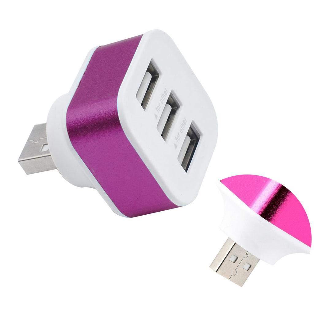 Atmeyol Portable 3 Ports USB2.0 HUB Adapter Splitter Adapters Rotatable Plug Hubs