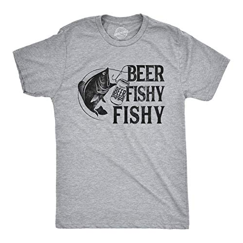 Crazy Dog T-Shirts Mens Beer Fishy Fishy Tshirt Funny Fishing Drinking Tee (Heather Grey) - XL