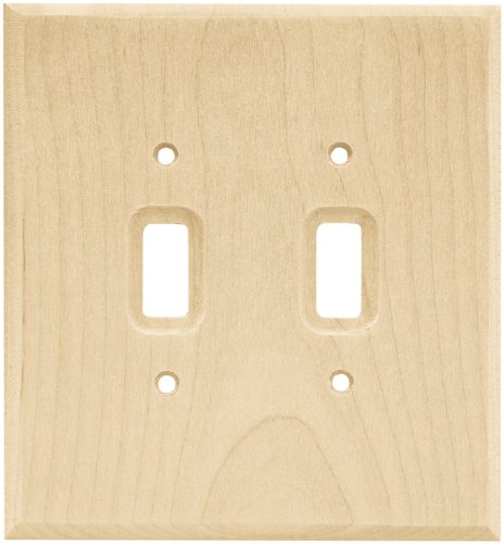 BRAINERD 64656 Wood Square Double Toggle Switch Wall Plate / Switch Plate / Cover, Unfinished Wood