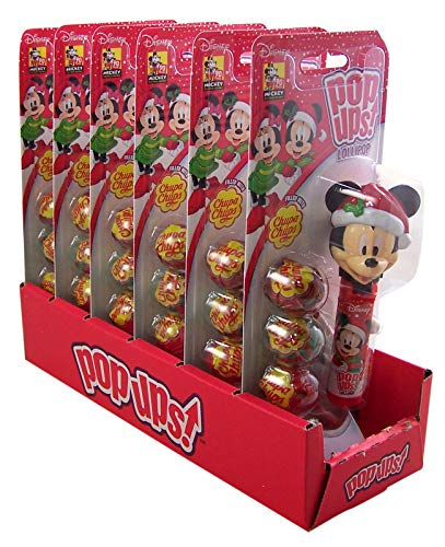 Christmas Minnie and Mickey Mouse Pop Ups With 3 Chupa Chups Lollipops, 6 Pack