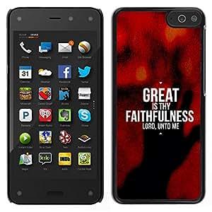Caucho caso de Shell duro de la cubierta de accesorios de protección BY RAYDREAMMM - Amazon Fire Phone - BIBLIA grande es tu fidelidad