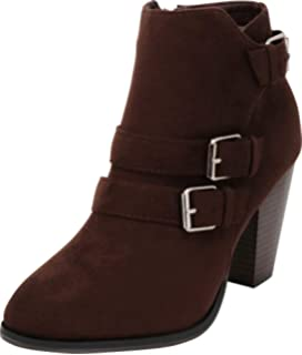 a19d91ffab04 Cambridge Select Women s Buckle Strap Block Chunky Heel Ankle Booties