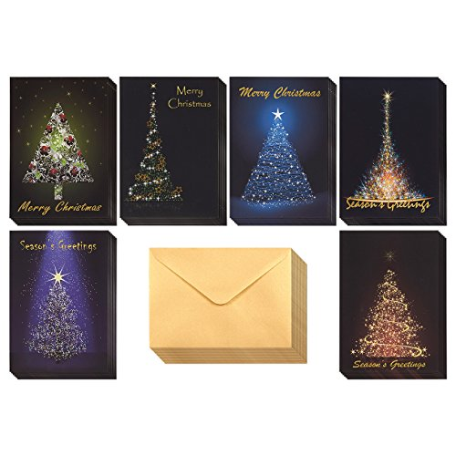 Set of 36 Merry Christmas and Season's Greetings Cards - Bulk Single-Sided Christmas Cards with Assorted Christmas Tree Themes - Includes Gold Colored V-Flap Envelopes, 4.6 x 6.5 Inches