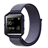 designer plugs - For Fitbit Blaze Band,Yichan Nylon Sport Loop with Hook and Loop Adjustable Fastener Wrist Strap & Metal Frame Housing for Fitbit Blaze Smart Fitness Watch,Midnightblue