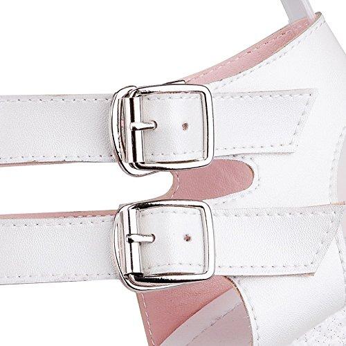 AgooLar Women's Solid Microfiber High Heels Open Toe Buckle Sandals White 5LhavzFHq