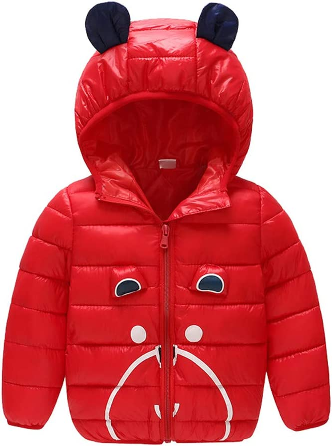 TOPBIGGER Winter Coats for Kids with Hoods Ears Light Puffer Jacket for Baby Boys Girls Baby Girls Warm Jacket Toddler Thick Clothes Zip-Up Coats Jacket Snow Hoodie Outwear 6M-4Y