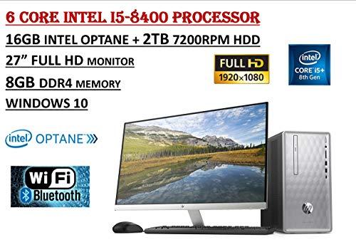 HP Pavilion Flagship High Performance Desktop PC Bundle, Intel Core i5-8400 6 Core Processor, 8GB DDR4+16GB Intel Optane, 2TB 7200 RPM, DVDRW, HP 27er 27
