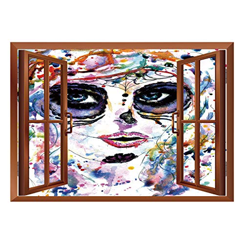 SCOCICI Creative Window View Home Decor/Wall Décor-Sugar Skull Decor,Halloween Girl with Sugar Skull Makeup Watercolor Painting Style Creepy Decorative,Multicolor/Wall Sticker -