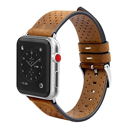 For Apple Watch Band 42mm Genuine Leather iwatch Band Replacement Strap with Stainless Metal Clasp for Apple Watch Series 3 Series 2 Series 1 (Brown 42mm)