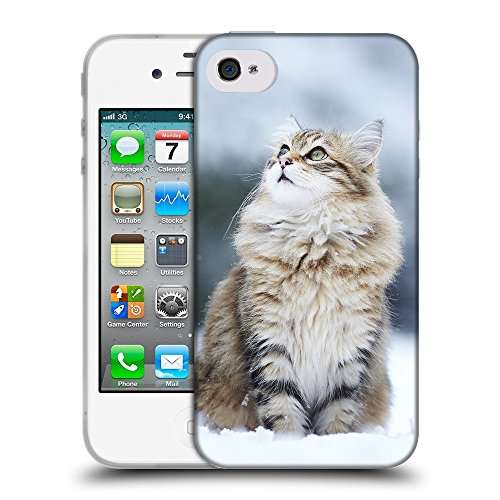 Just Phone Cases Coque de Protection TPU Silicone Case pour // V00004211 Chat regardant tomber la neige // Apple iPhone 4 4S 4G