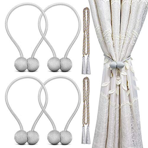 cyrico Magnetic Curtain Tiebacks, Decorative Curtain Holdbacks Rope Holdbacks Convenient Drape Tie Backs for Thick Sheer Curtains Light Weight Drapes Outdoor and Indoor Curtains Grey (4 Pack)