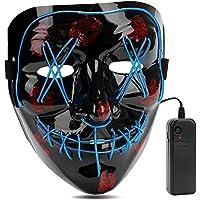 Aiwogep LED Light Up Halloween Mask for Festival Cosplay Halloween Costume (Blue)