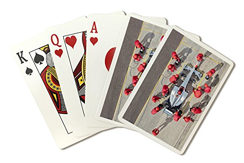 Drag Race Car Team Working at Pit Stop (Playing Card Deck - 52 Card Poker Size with - Pit Car Race Stop