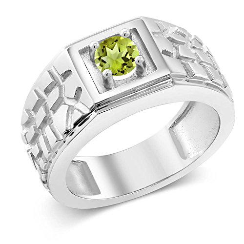 - Gem Stone King 0.60 Ct Round Green VS Peridot 925 Sterling Silver Men's Solitaire Ring (Size 12)