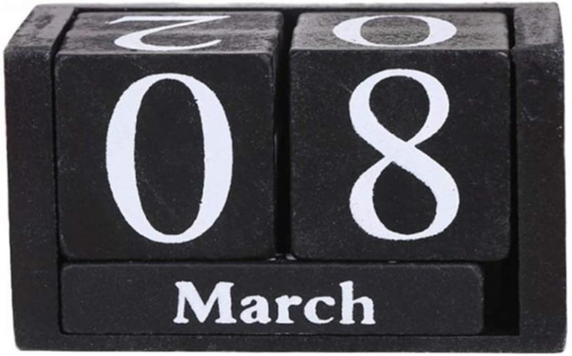 Vintage Wooden Calendar, Chic Blocks Desktop Perpetual Calendar, Time Concept Rustic Wooden Cubes Calendar Month Date Display Home Office Decoration (Black)