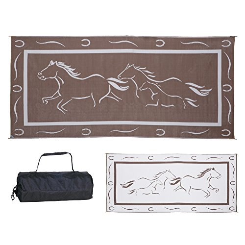 Stylish Camping GH8187 Brown/White 8-Feet x 18-Feet Galloping Horses Mat