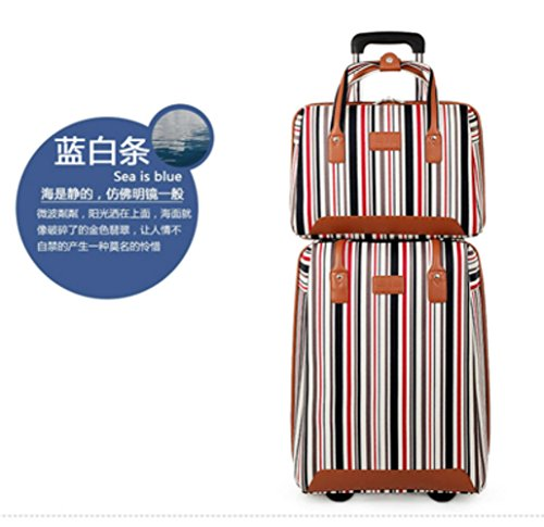 2 PCS Nylon Carry-on Suitcase Lightweight Business Luggage Set 20'' Carry On Luggage with Casters and One Handbag Set (Blue and white) by HongHaiTang-C