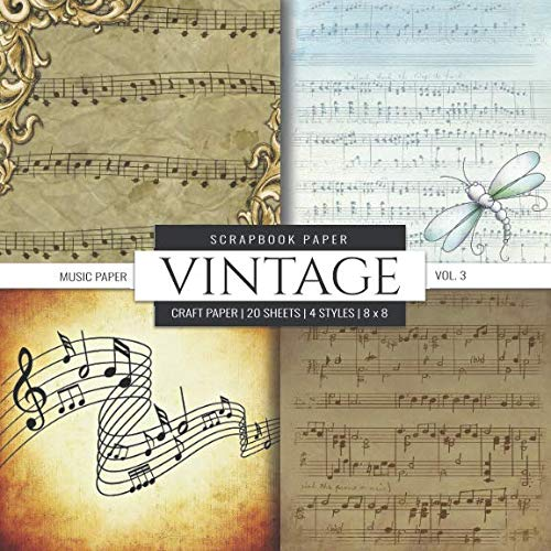 Vintage Scrapbook Paper: Music Sheet Paper Themed, 8x8 inch Decorative Craft Paper Pad, Designer Specialty Paper for Scrapbooking, Card Making, ... Crafting, Backgrounds (Scrapbook Paper Packs) -