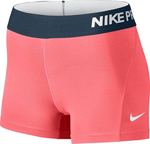 Nike Gold Training Shorts - Nike Women's Pro Cool 3-Inch Training Shorts (Lava Glow/White/Large)