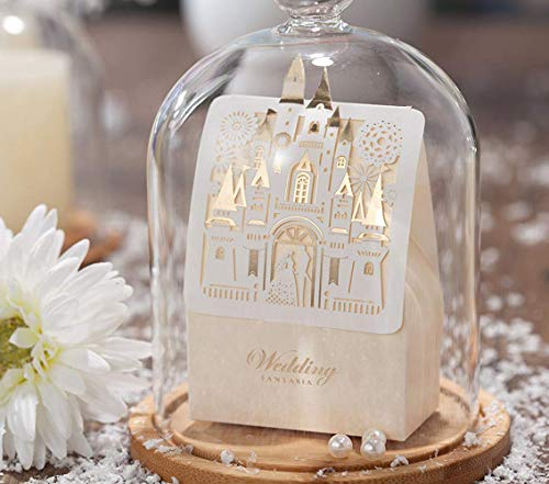 WISHMADE 50pcs Laser Cut Wedding Favor Boxes Candy Box Gift Bag Bride and Groom Paper Bags with Romantic Castle Design(White) CB5093 ()