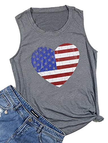 BANGELY American Flag Heart Graphic Cute Tank Tops for Women USA Flag Star Stripe Vest T Shirt Summer Patriotic Tees Size Small (Grey) - Heart Juniors Tank Top