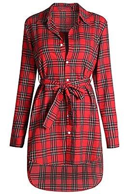 JOKHOO Women's Casual Long Sleeve Button Down Belted Plaid Shirt Dress